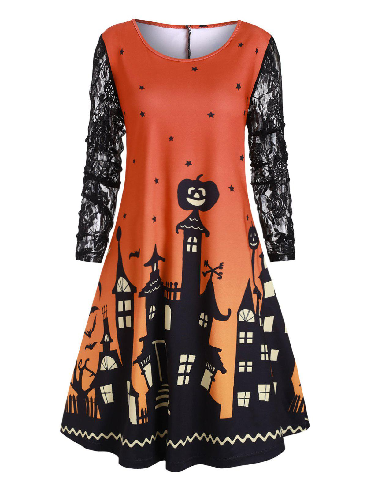 Cheap Halloween Plus Size Castle Pumpkin Print Swing Dress