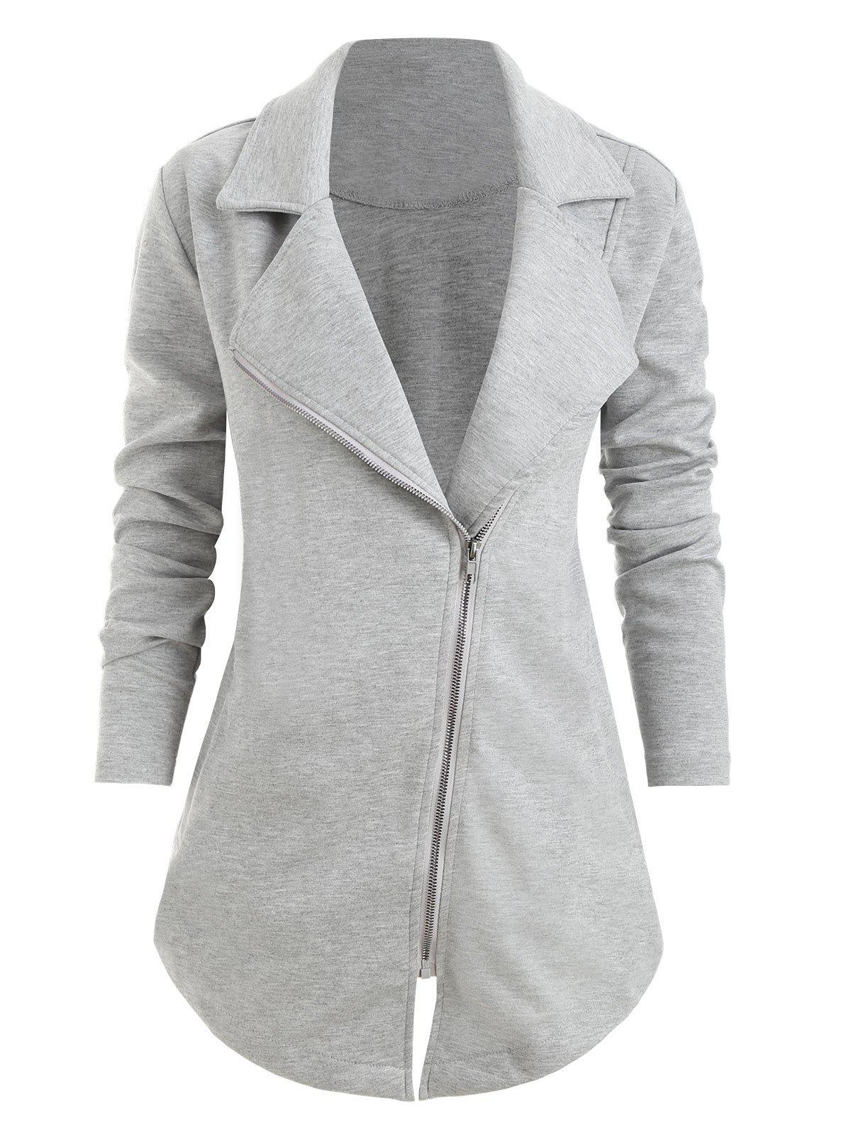 Sale Plus Size Notch Lapel Front Zip Pockets Asymmetrical Coat