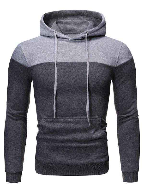 Fashion Color-blocking Fleece Pullover Hoodie