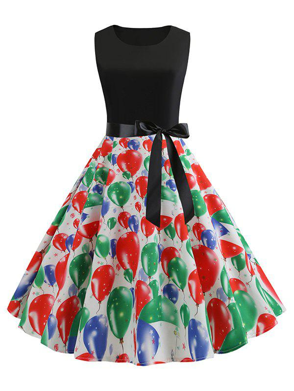 Affordable Balloons Heart Print Belted A Line Dress