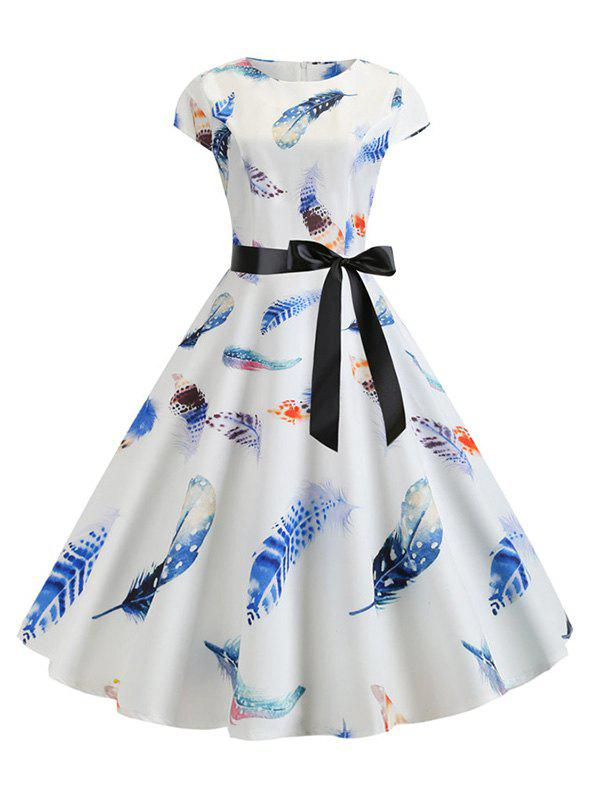 Fancy Feather Print Belted Round Neck A Line Dress