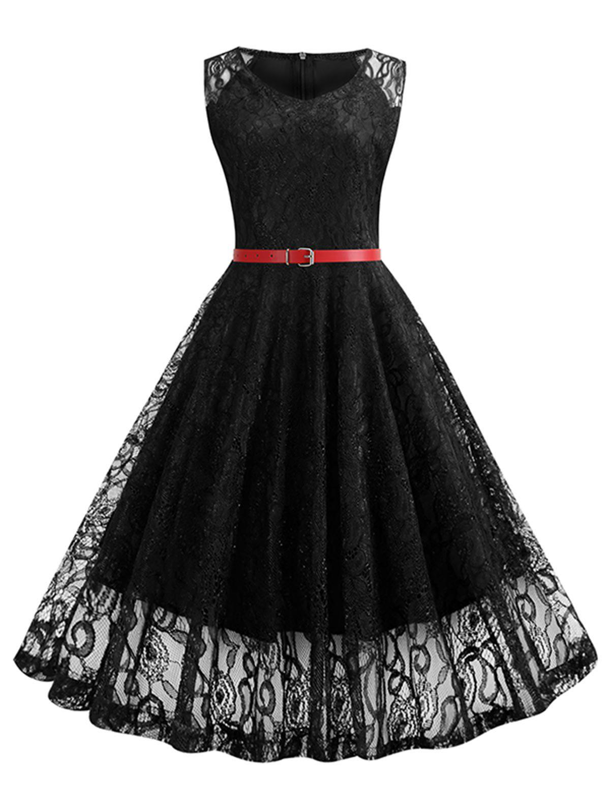 Buy V Neck Belted Lace A Line Dress