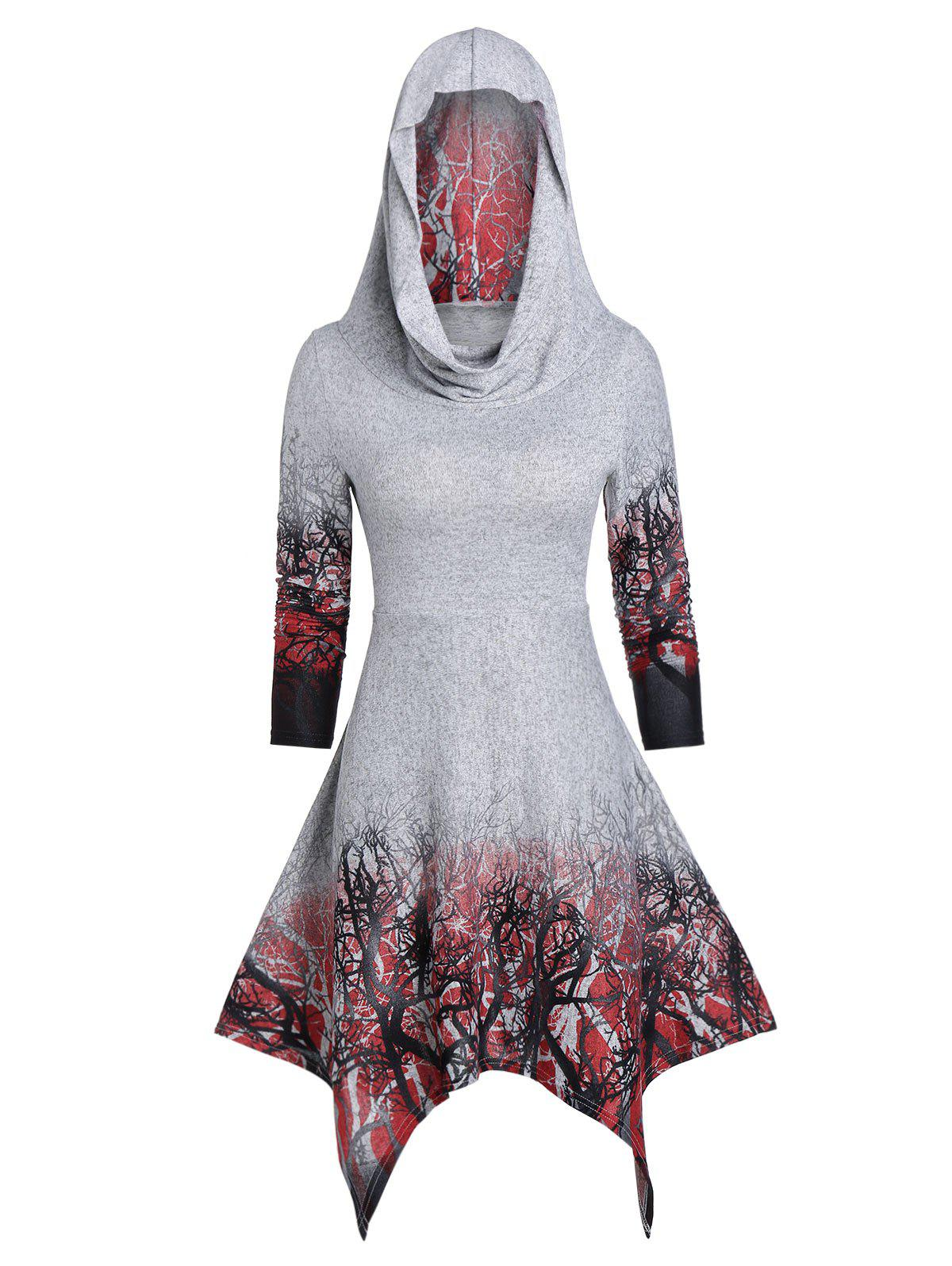 Hot Convertible Tree Print Halloween Hanky Hem Dress