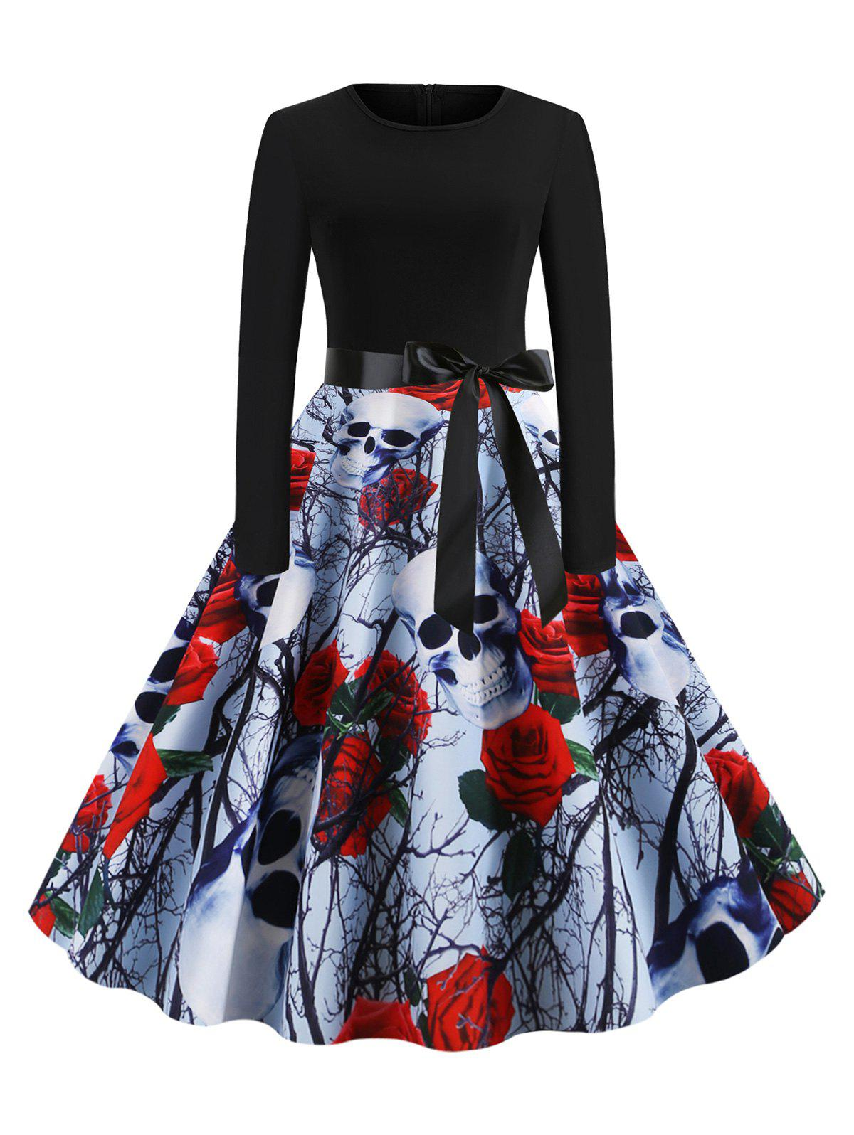 Latest Skull Floral Print Belted Halloween Long Sleeves Dress