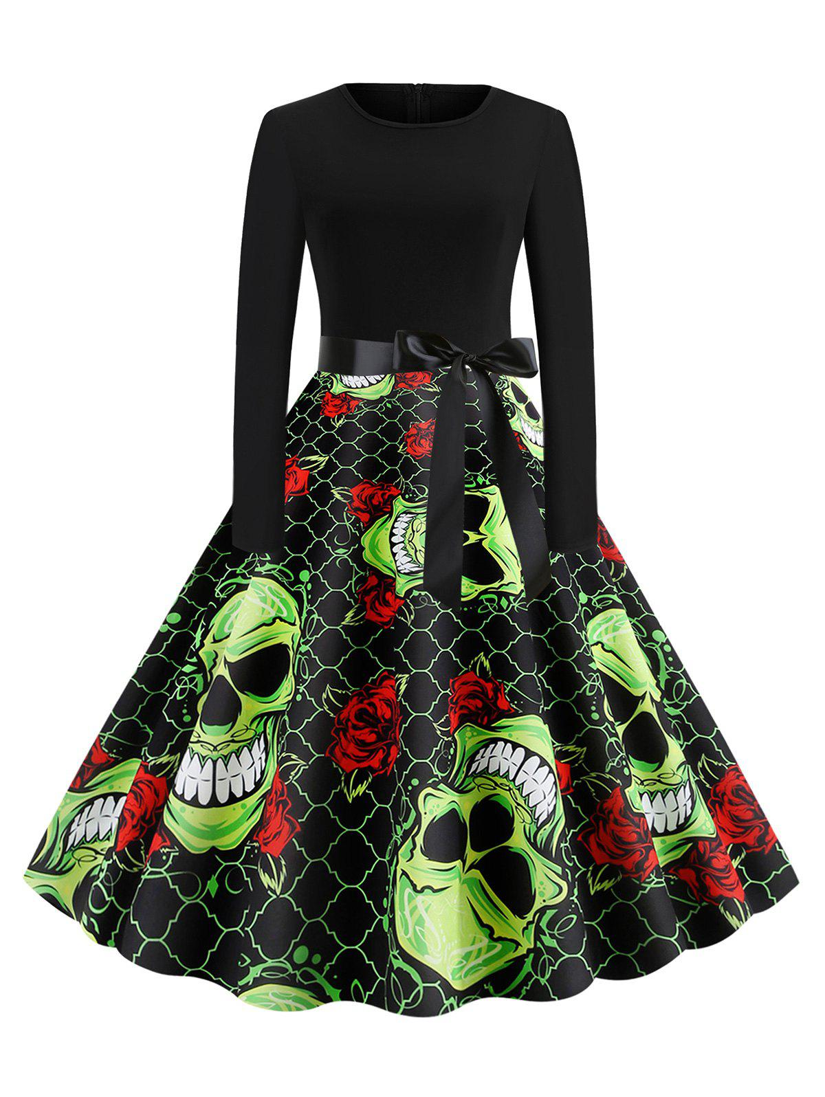 Outfits Skull Floral Print Belted Halloween Long Sleeves Dress