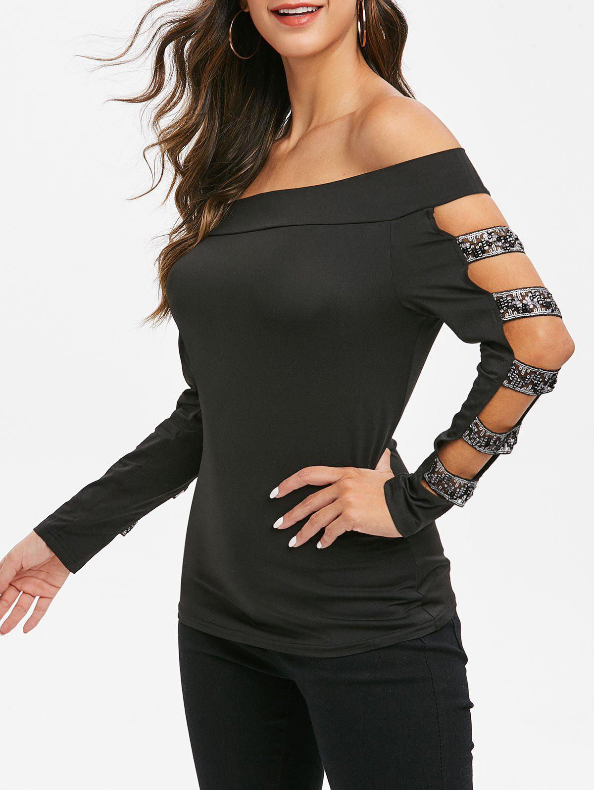 Discount Off The Shoulder Cut Out Glitter T Shirt