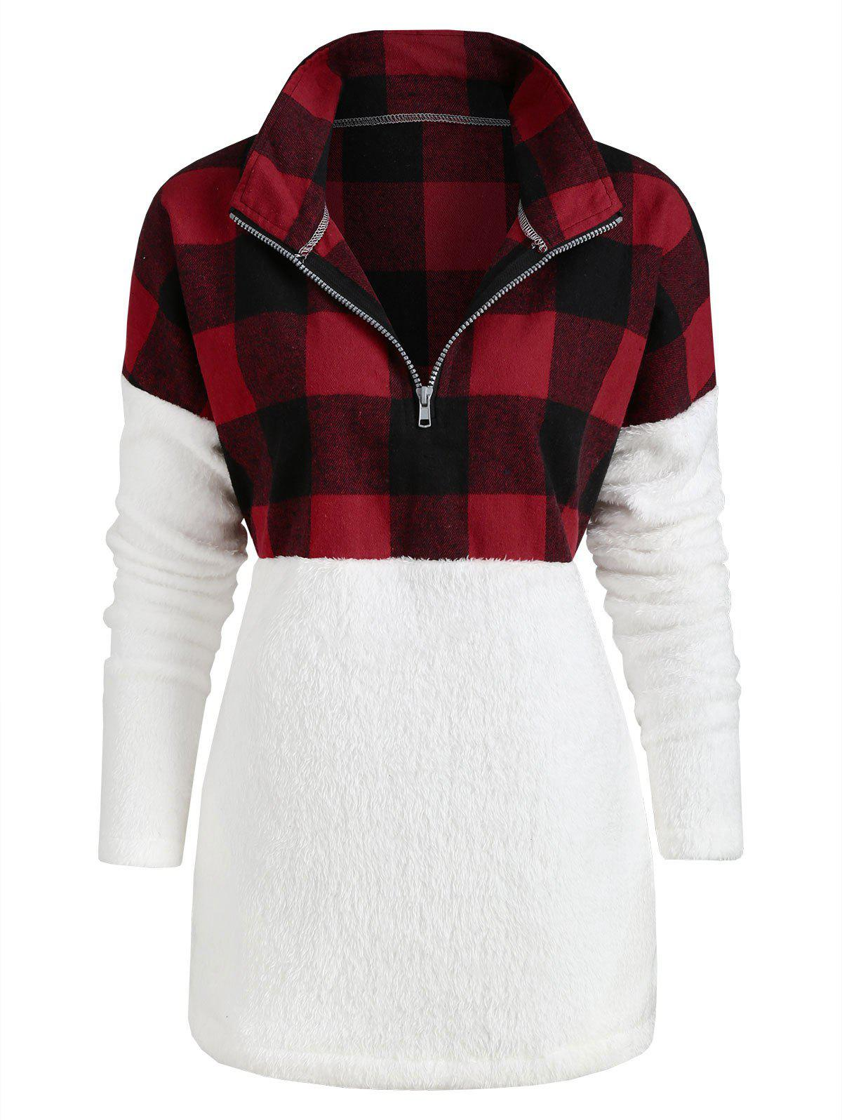 Affordable Plus Size Plaid Panel Half Zip Pockets Faux Fur Sweatshirt