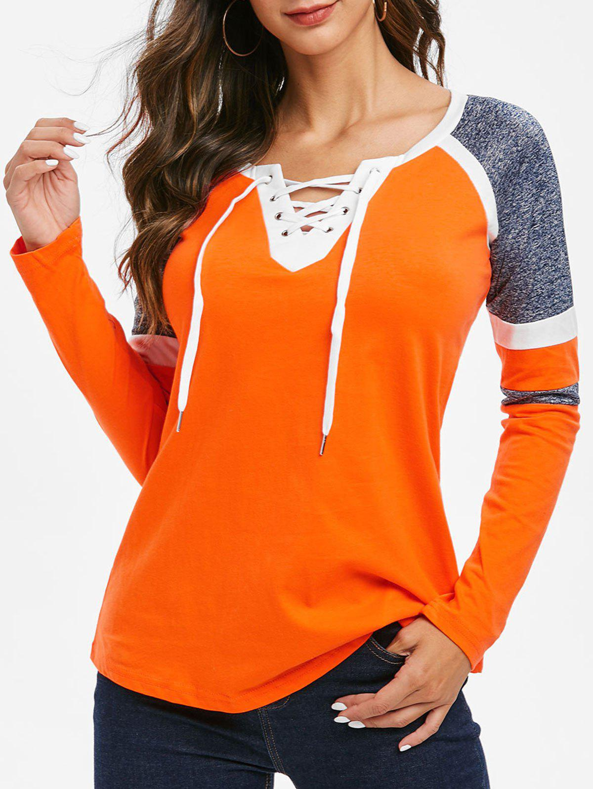 Cheap Contrast Lace Up V Neck Tee