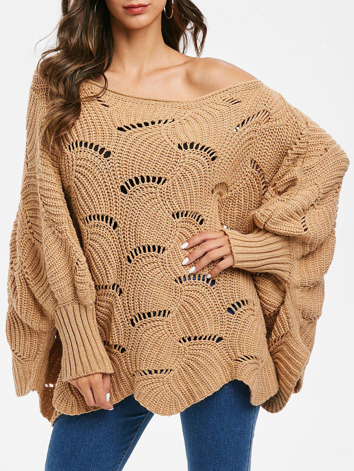 New Open Knit Batwing Sleeve Loose Sweater