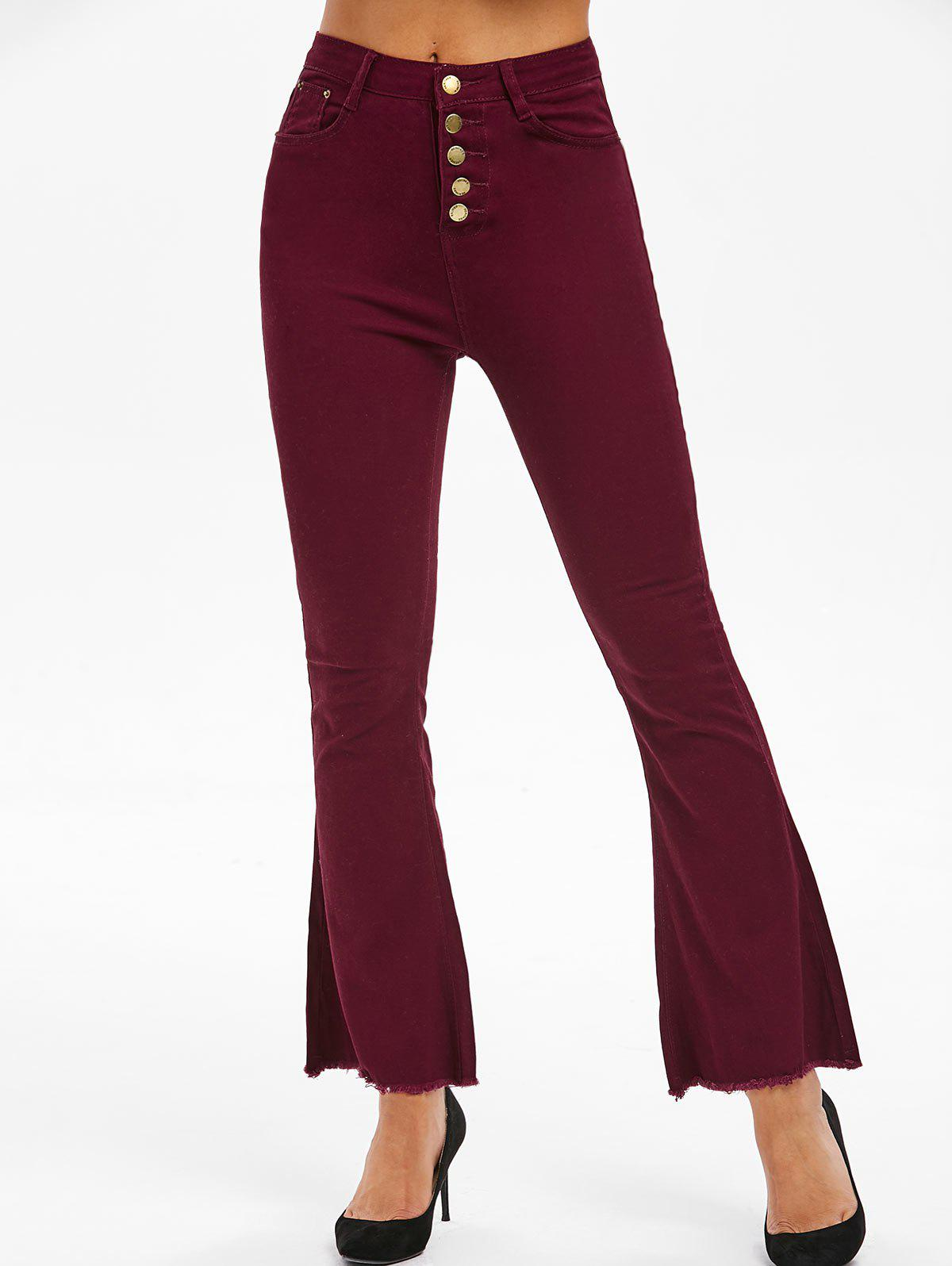 Shops High Waisted Frayed Boot Cut Pants