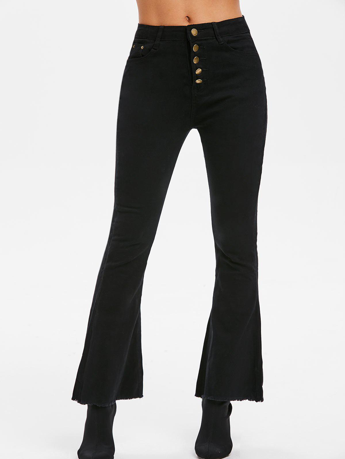 Trendy High Waisted Frayed Boot Cut Pants