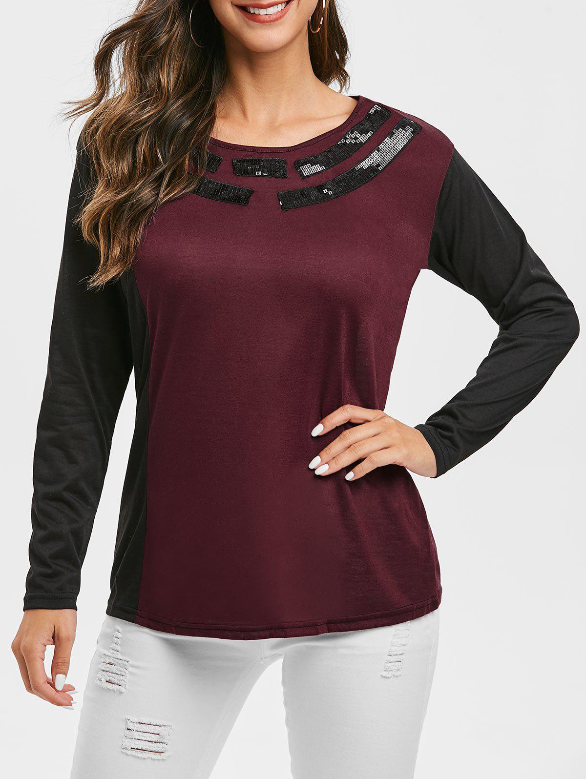 Outfits Sequined Two Tone Round Neck Tee