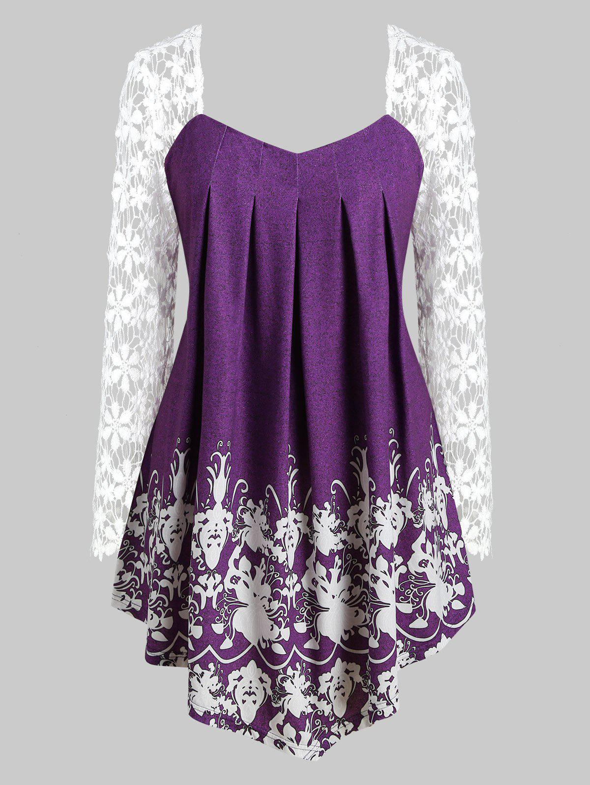Sale Curved Hem Printed Lace Sleeve Plus Size Top