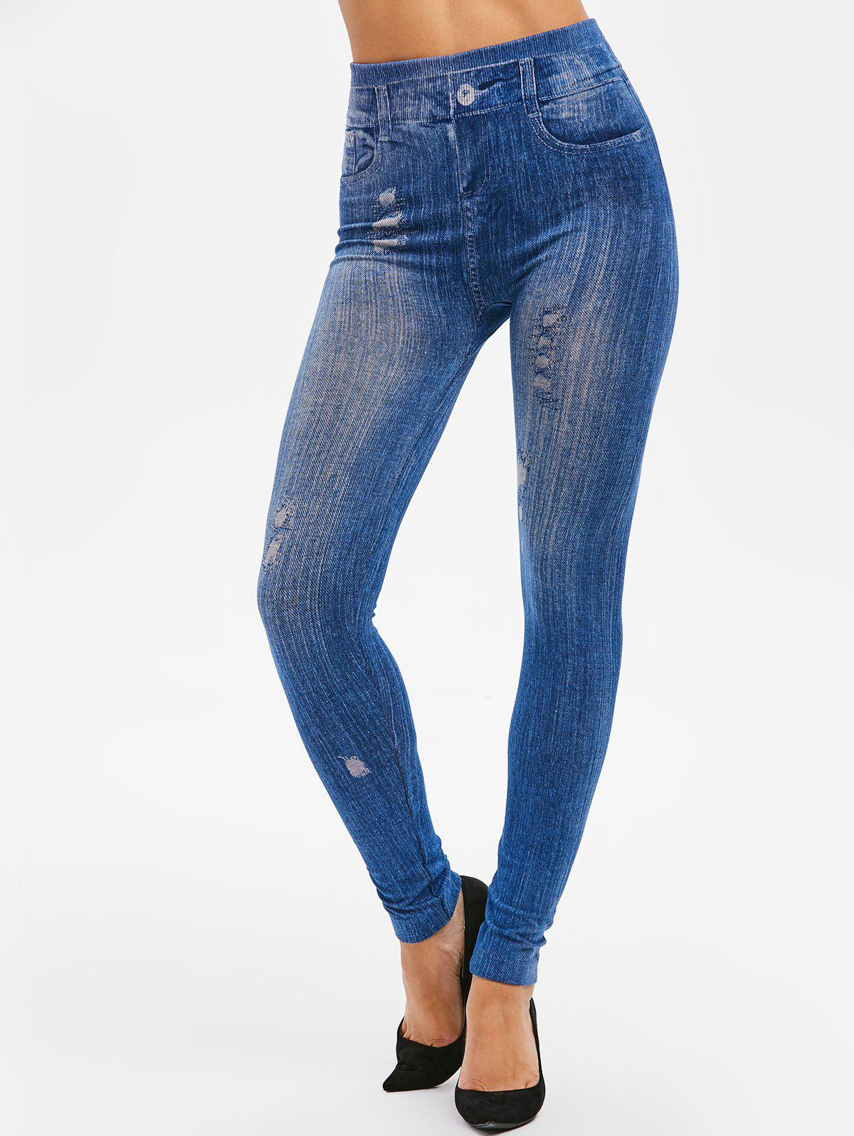 Cheap High Rise 3D Ripped Print Jeggings