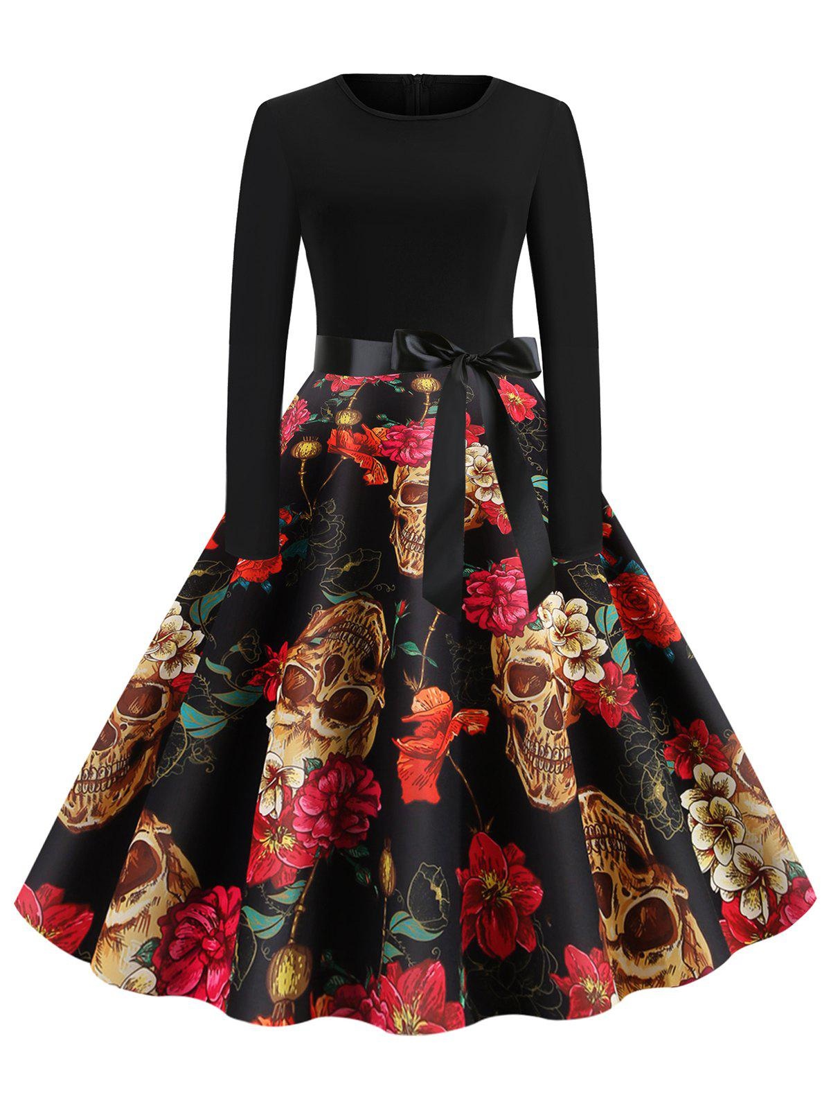 Hot Skull Floral Belted Round Neck Halloween Flare Dress