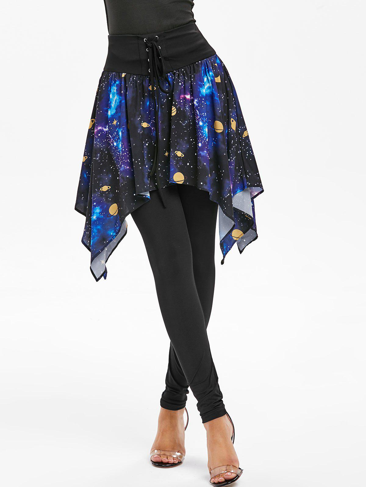 Outfit Lace-up Galaxy Print Skirted Leggings