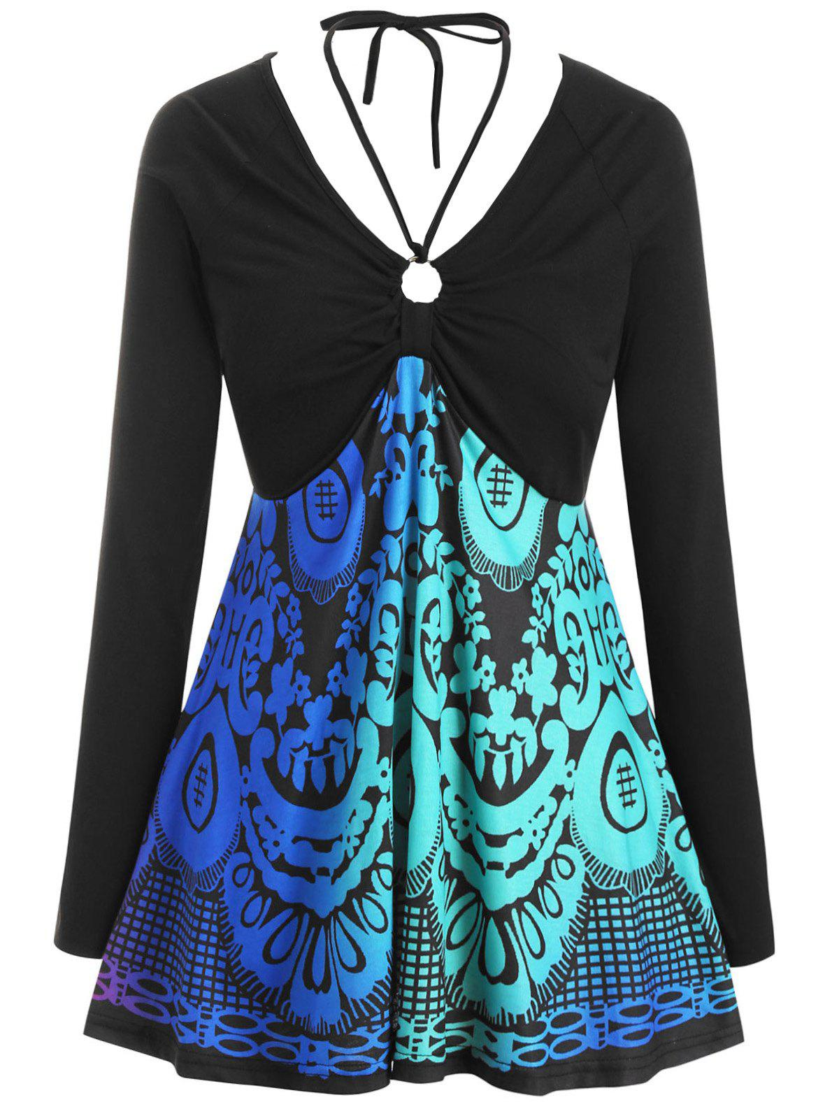 New Long Sleeve Printed O Ring Tie Collar Plus Size Top