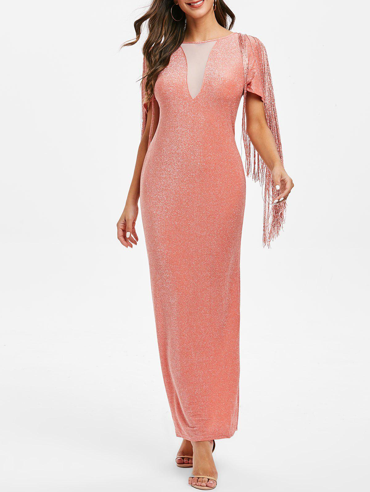 Fashion Sparkly Fringed Mesh Panel Maxi Party Dress