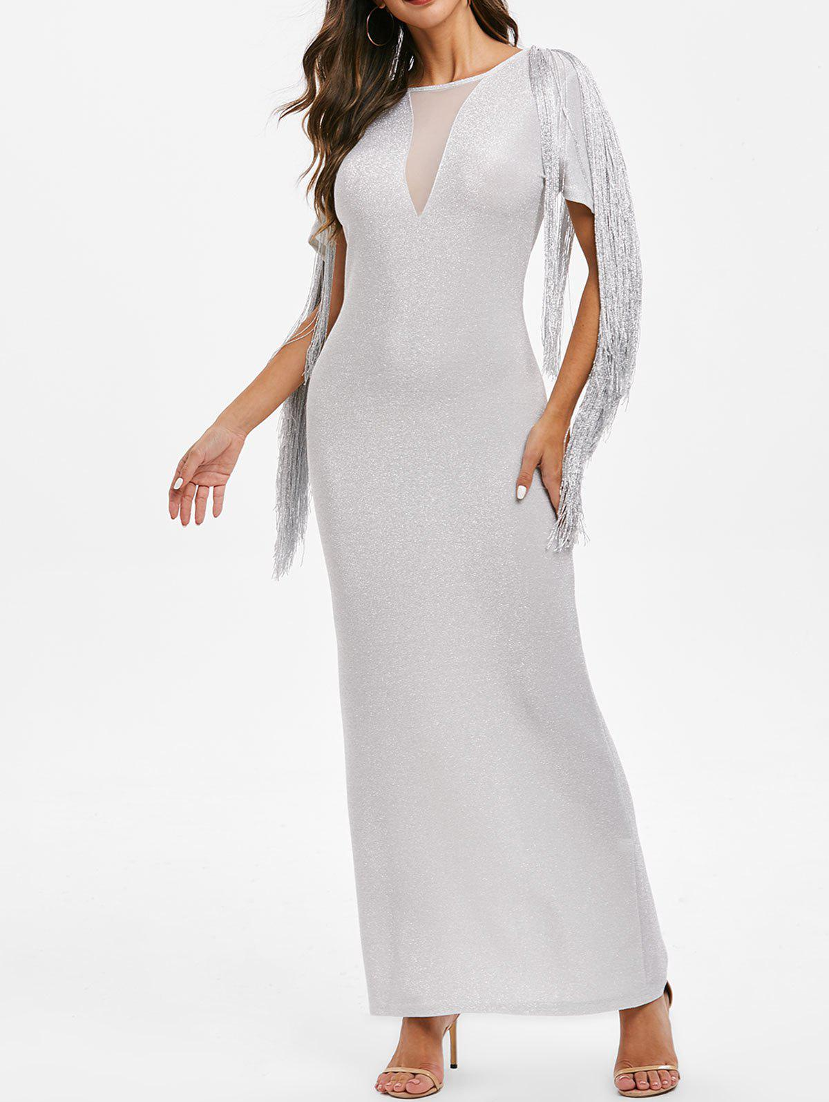Trendy Sparkly Fringed Mesh Panel Maxi Party Dress