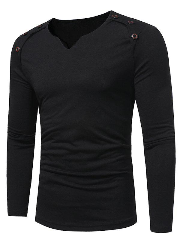Trendy Notch Neck Solid Button Long Sleeve T-shirt