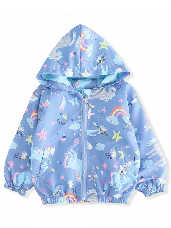 Online Girls Unicorn Star Print Zip Up Hooded Jacket