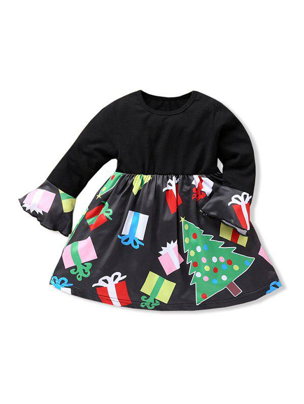 Affordable Girls Christmas Tree Print Ruffled Sleeve A Line Dress