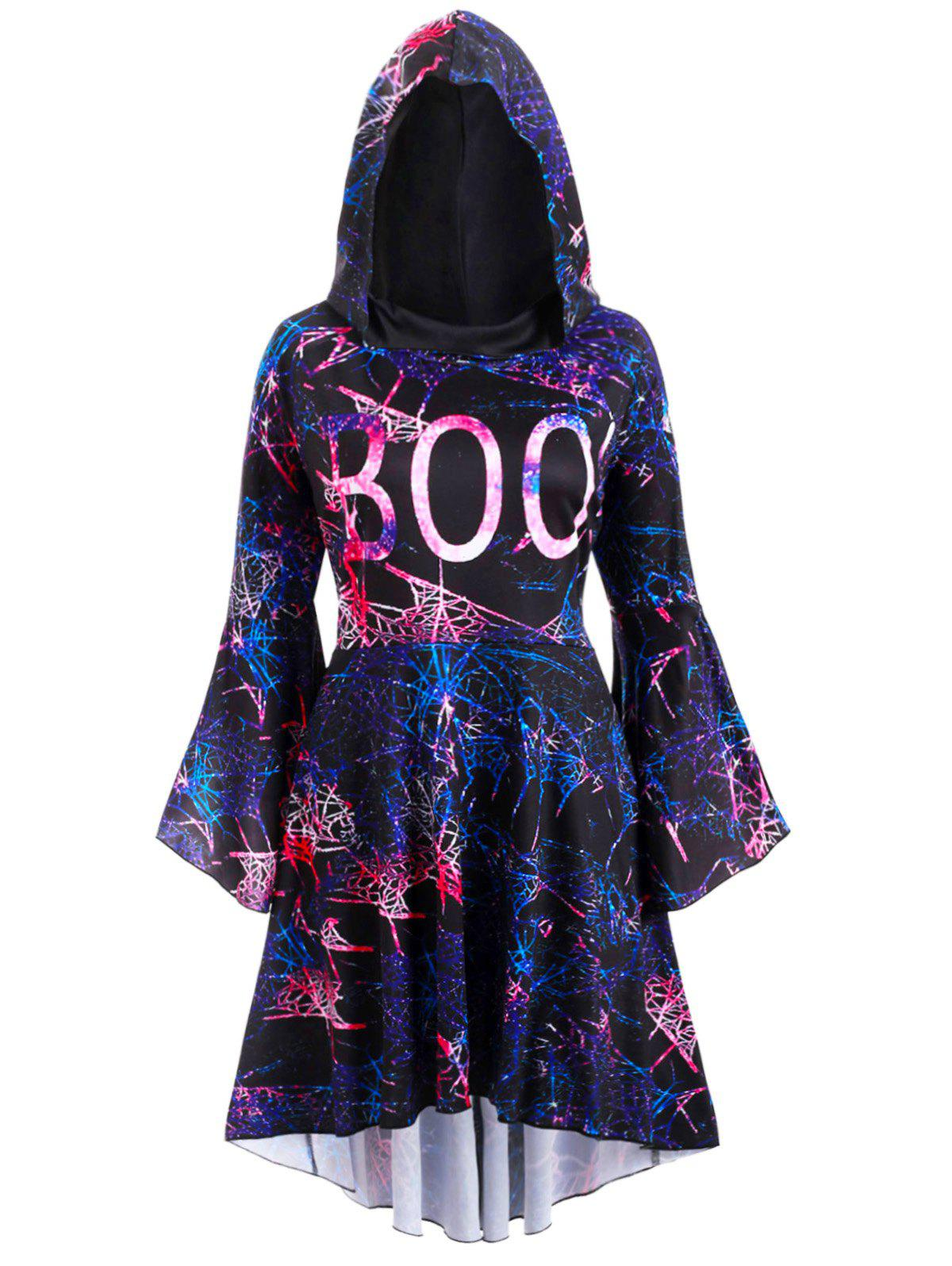 Discount Flare Sleeve Galaxy Print High Low Hooded Plus Size Dress