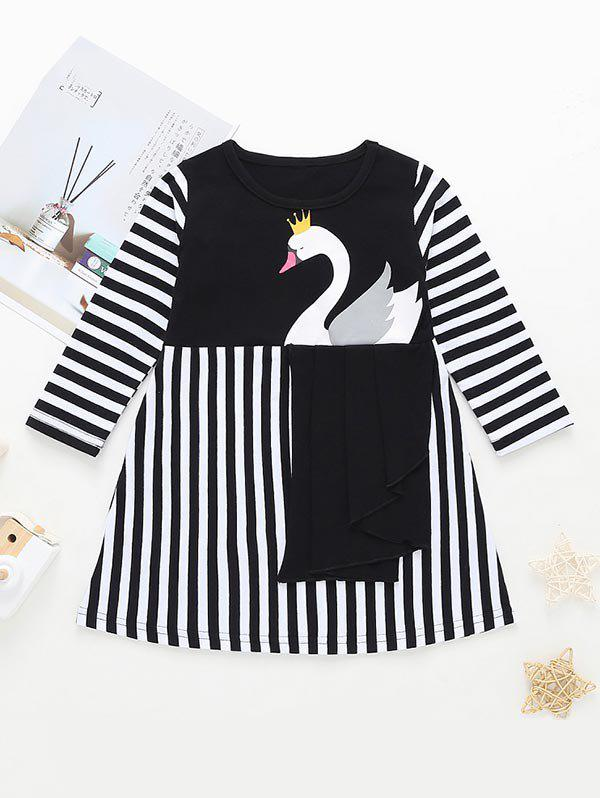 Trendy Girls Swan Graphic Striped A Line Dress