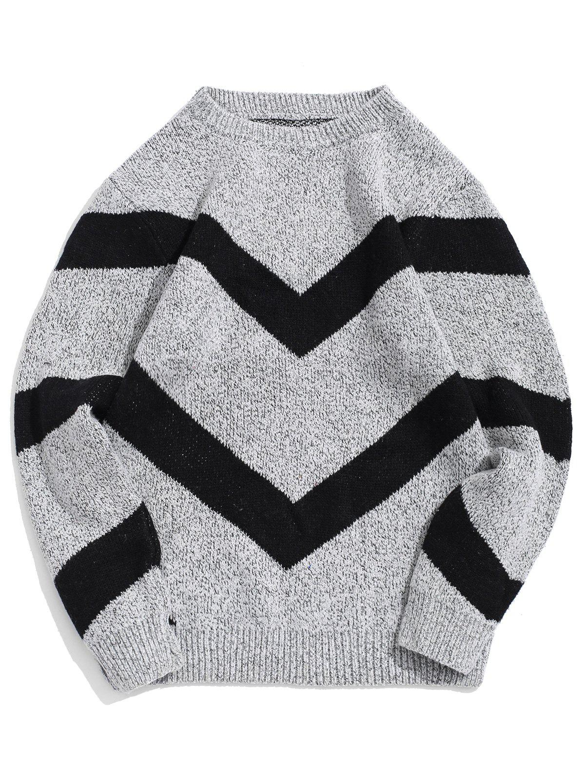 Trendy Chevron Graphic Long Sleeve Knitted Sweater