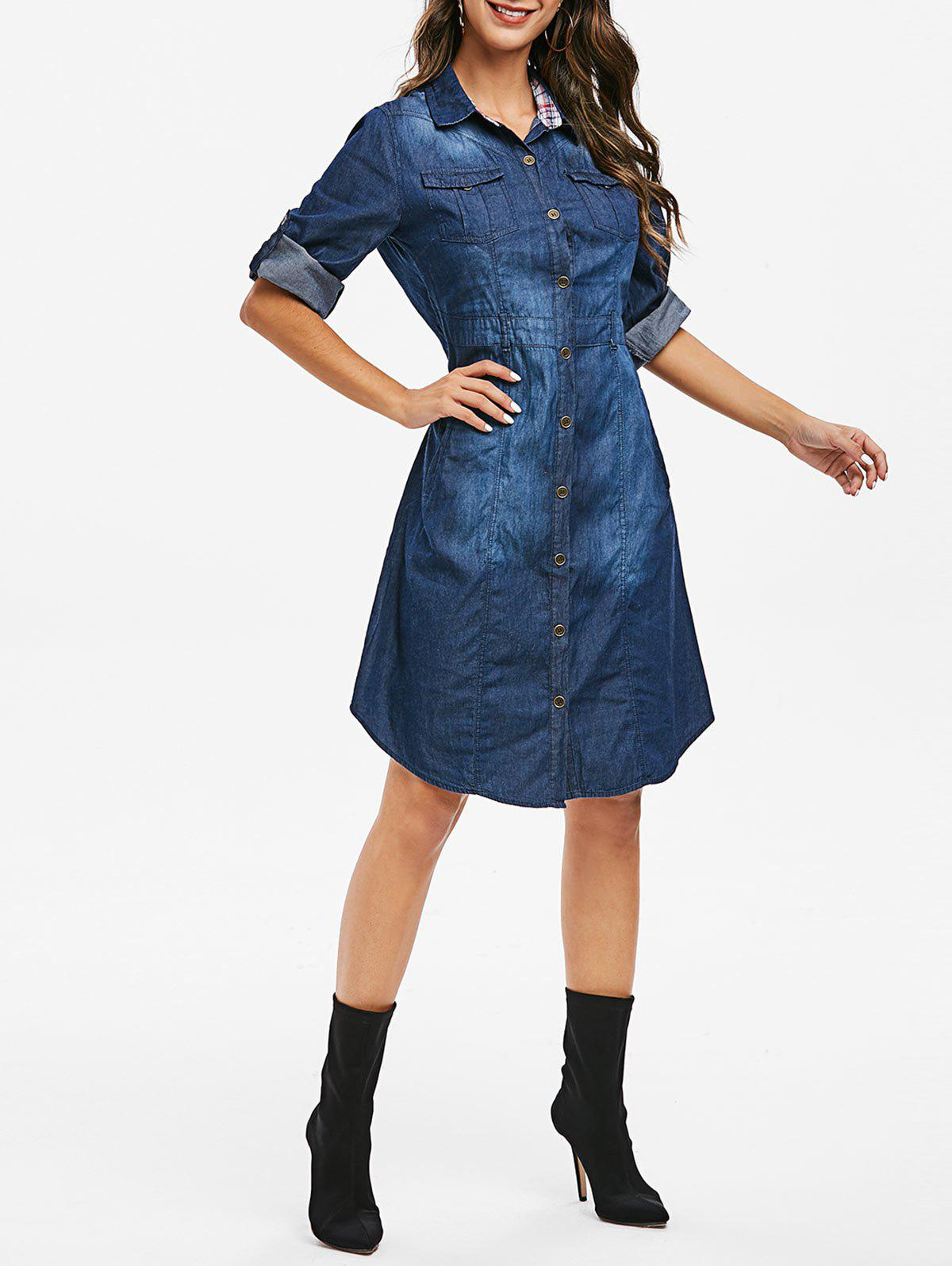 Affordable Buttoned Pockets Curved Hem Chambray Dress