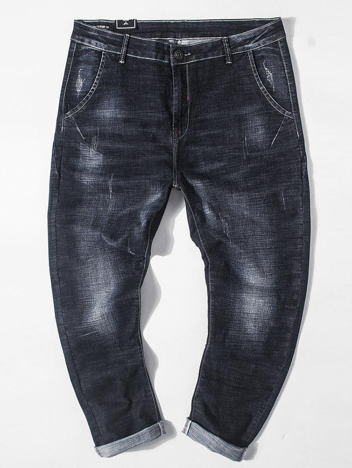 Buy Plus Size Dark Wash Destroyed Tapered Jeans