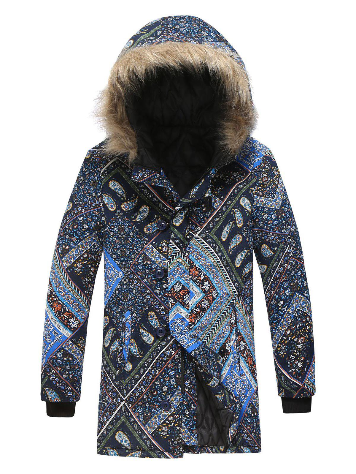 Best Plus Size Bohemian Paisley Floral Patchwork Print Hooded Parka Coat