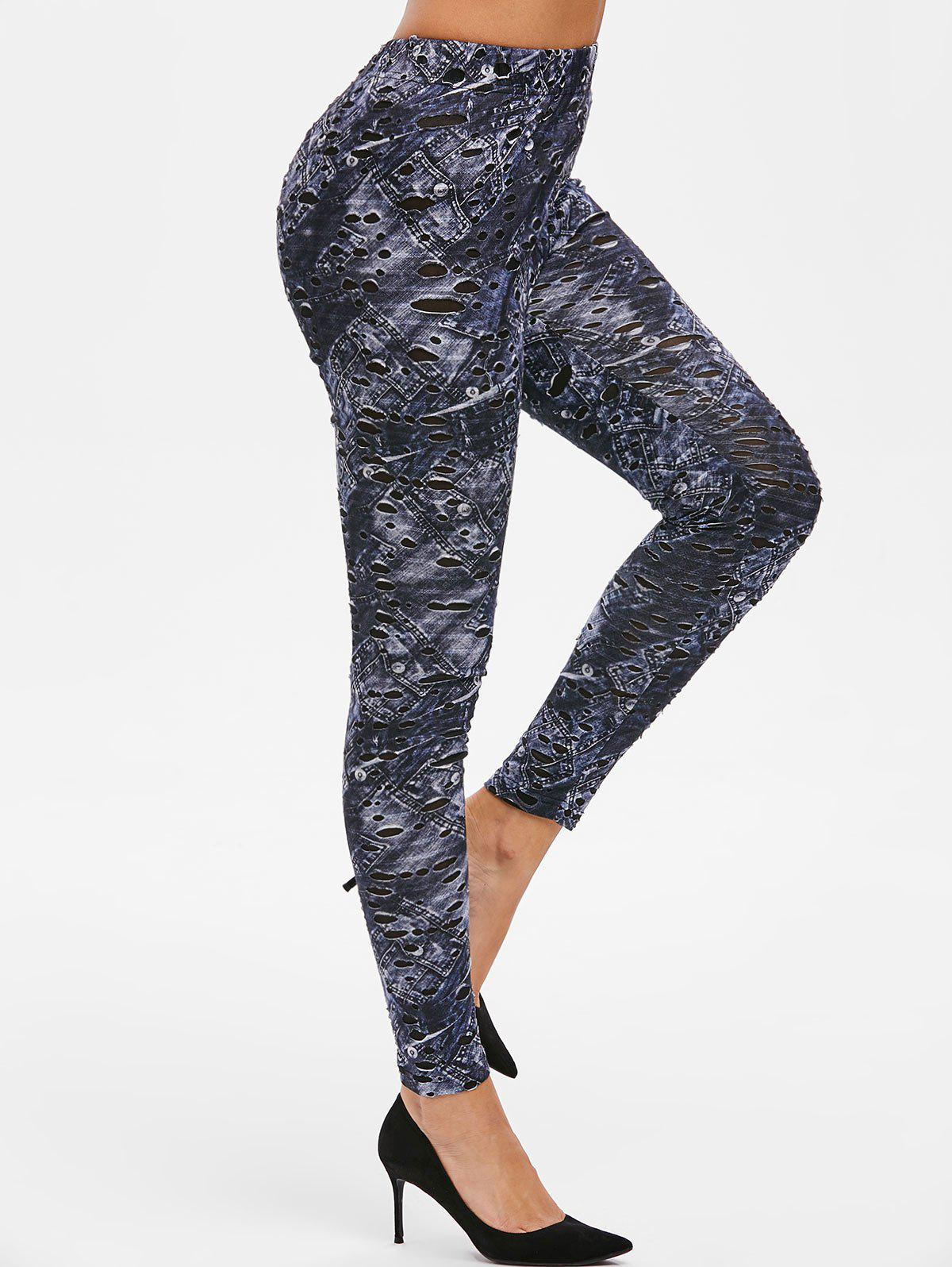 Shops High Waist Skinny Hollow Out Leggings