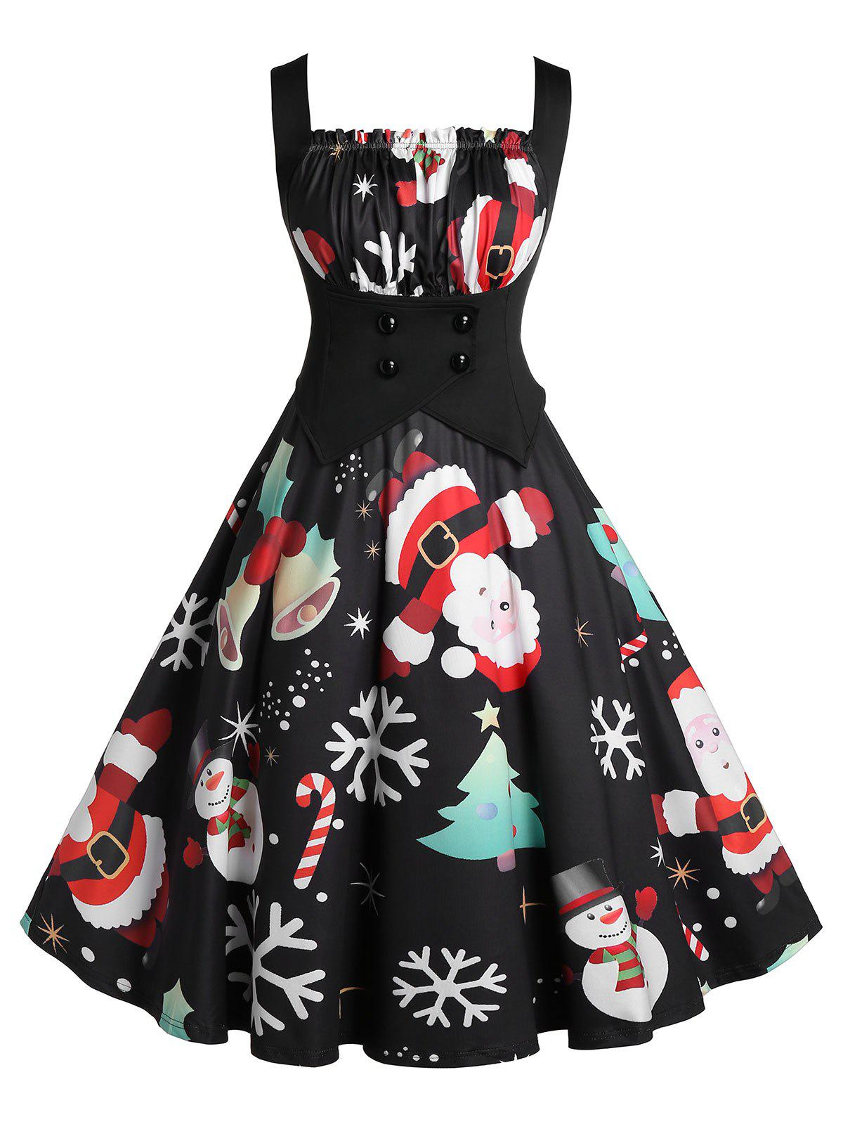 Sale Plus Size A Line Pleated Christmas Printed Dress