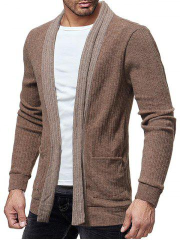 Two Pocket Knitted Open Front Cardigan - KHAKI - XS