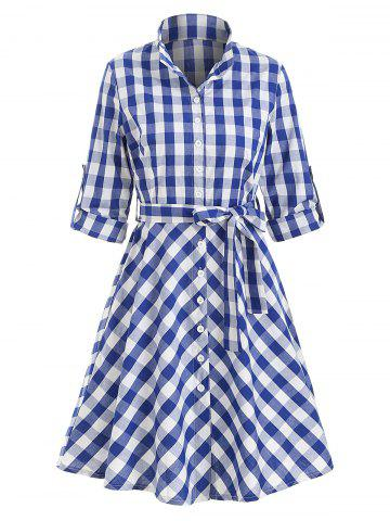 Button Up Plaid Belted Mini Dress