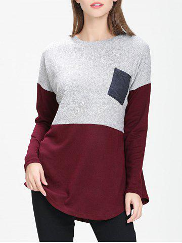 Front Pocket Colorblock Sweater - RED WINE - XL