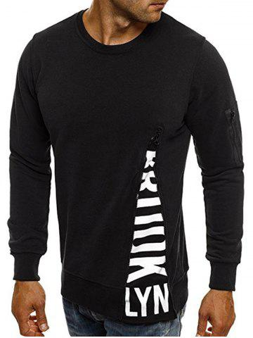 Letter Print Zipper Pocket Crew Neck Sweatshirt