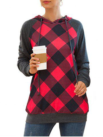 Plaid Raglan Sleeve Drawstring Tunic Pocket Hoodie