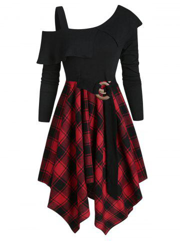 Plaid Skew Neck Flounce Asymmetrical Dress