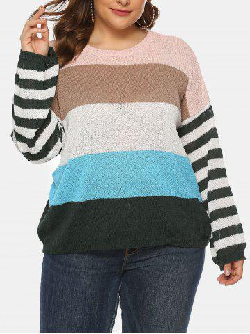 Plus Size Striped Colorblock Crew Neck Sweater