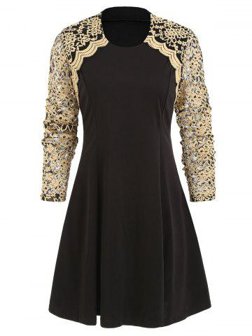 Lace Panel Round Collar A Line Dress