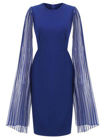 Pleated Split Sleeves Round Neck Sheath Dress