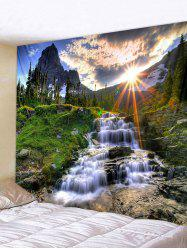 Sun Mountain Waterfall Pattern Tapestry Polyester -