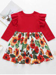 Girls Floral Print Ruffled Sleeve A Line Dress -