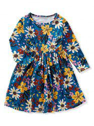 Girls Sunflower Print Long Sleeve A Line Dress -