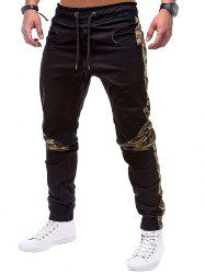 Camouflage Print Spliced Drawstring Jogger Pants -