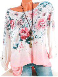 Plus Size Roll Up Sleeve Ombre Color Floral T Shirt -