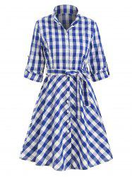 Button Up Plaid Belted Mini Dress -