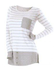 Striped Button Embellished Longline T-shirt -